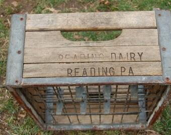 Vintage Antique Wood Milk Crate Reading PA Dairy Primitive Box