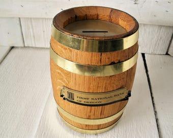 Vintage bank barrel wood metal combination lock 1960s First National Bank Oregon