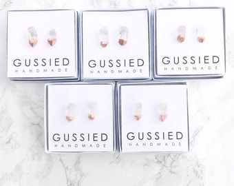 Gussied Rose Gold Paint Dipped Tipped Color Blocked Quartz Point Modern Boho Stud Earrings with Free Shipping