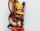 Easter Bunny Rabbit in Yellow Hat and Bowtie Brooch Animal Portrait Birthday Wooden Pin Gift for Stocking Filler Stuffer Jewellery Pin Colla