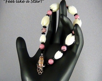 "Bracelet  - Vintage Resin Pikaki Beads from Hawaii, Rhodonite Gemstone Beads, Jet Black Crystals - 7.5"" - Hand Crafted Artisan Jewelry"