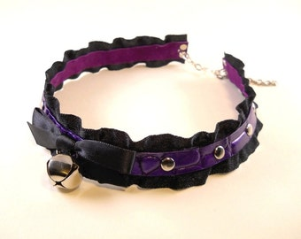 Metallic Purple on Dark Purple Leather Ruffle Ribbon and Bell Black Crystals Collar Choker Necklace Goth Kawaii Cosplay Fantasy Lolita