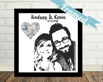 Custom Couple Portrait Unique Engagement Gift Personalized Photo Framed Art Gift for Couple Boyfriend Gift Girlfriend Gift Valentine Gift