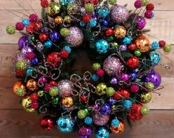 Christmas Ornament Wreath-Holiday Wreath-Ornament Wreath-Door Wreath-Wreath-Colorful Wreath-Evergreen Wreath-Christmas Ornament Wreath