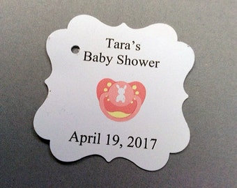 Baby Girl Gift tags Pacifier / Baby Shower gift Tags ( QTY 25)