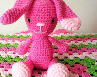 Large Amigurumi Bunny with Jointed Legs-Perfectly Pink Rabbit Doll