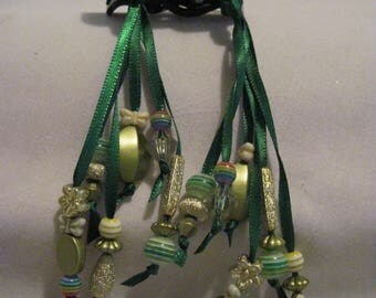 Hair Clips with Ribbons and Beads....set of 2....hand made...black/ Dk.Green
