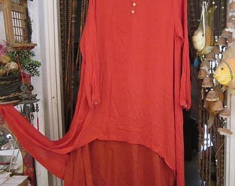 Bohemian Two Layers Orange-Red Dress, with Long Sleeves & Buttoned Cuffs, Vintage - Large