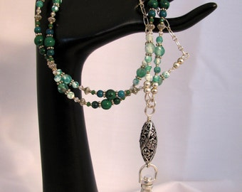 Lanyard - Break Away, Genuine Jaspers and Agates with Silver Components (L-324)