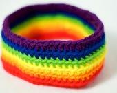 Four Double Wide Rainbow Crochet Dog Scarves, Collar Style
