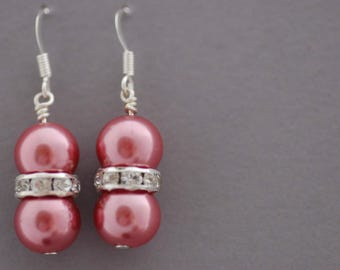 SPRING SALE, Pink Pearl Earrings, Pink Glass Pearl and Rhinestone Beaded Earrings, Gift for Her, UK Seller