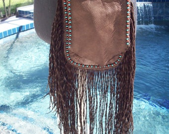 Brown Fringed Leather Indian Hobo Bag