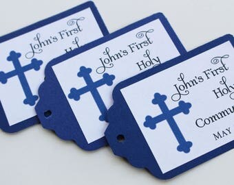 Blue Classy Cross Baptism-Communion Favor Tags