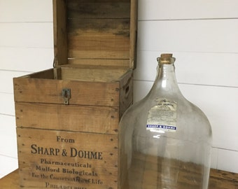 Antique Sharp & Dohme medicine jug with original wood crate