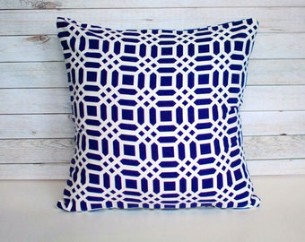 Navy blue and white geometric throw pillow cover. One cover for 18x18 pillow insert. Mod modern retro nautical preppy sofa pillow nursery