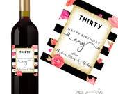 30th Birthday Wine Label - 30th Birthday Gift - Dirty Thirty Gift - Cheeky 30th Birthday Gift- Personalized Dirty 30 Birthday Party Gift