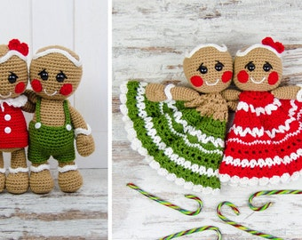 Combo Pack - Nut and Meg Gingerbread Lovey and Amigurumi Set for 7.99 Dollars - PDF Crochet Pattern Instant Download - Special Offer