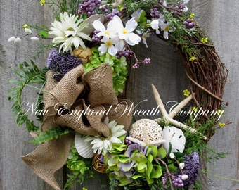 Beach Wreath, Spring Wreath, Woodland Wreath, Coastal Wreath, Shell Wreath, Spring Floral Wreath, Designer Wreath, Beach Cottage Wreath