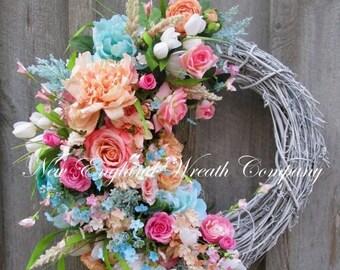 ON SALE Spring Wreath, Easter Wreath, Spring Floral, Elegant Spring Wreath, Designer Wreath, Country French Wreath, Cottage Wreath, Wedding