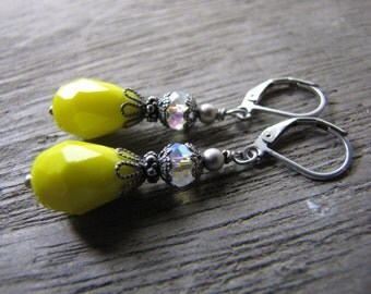 Yellow earrings vintage style crystal jewelry dark silver antique style minimalist earrings