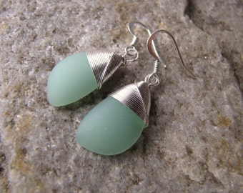 sea foam green earrings and necklace glass set
