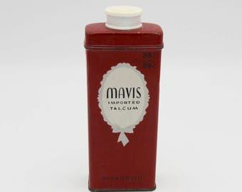 Mavis Imported Talcum Powder Tin Vintage Advertising Red Tin
