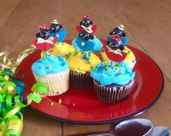Americana Children/Folk Art Cupcake Toppers/Black Americana