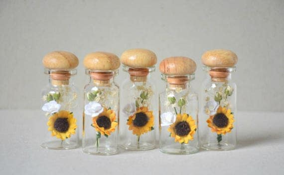 5 Paper Flowers And Dried Flowers In Glass Bottles From