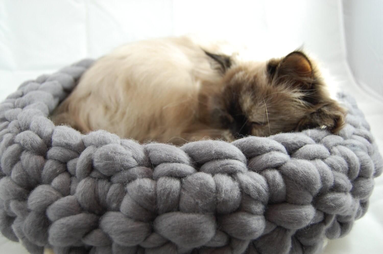 Chunky Wool Cat Nest Grey Pet Bed Cat Nest Cat Cave Cat