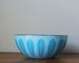 "Cathrineholm 8"" Blue on blue lotus enamel bowl Norway"
