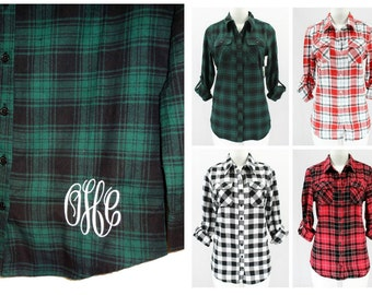 Fitted Plaid Flannel Shirt With Monogram Plaid Button Front Blouse Monogrammed Buffalo Plaid Flannel Shirt