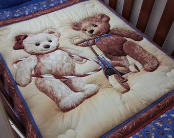 Teddy Bear Friends Baby Quilt with matching pillowcase