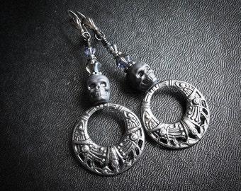 Aztec Skull Hoop Earrings