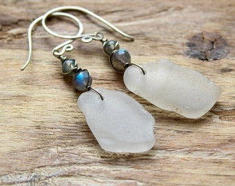 Whitby Sea Glass Labradorite and Moss Agate Earrings. Hild's Ghosts in Sterling Silver