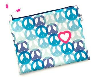 Peace and Love Wet Bag, Hippie Chick Beach Girl Bikini Bag, Aqua Pink Modern Water Resistant Zipper Pouch, Recycled Canvas, Handmade Gift
