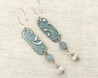 Boho Jewelry Earrings for Wife - Bohemian Earrings Stamped Solder Earrings - Affordable Jewelry Earrings Gift Ideas - Blue Dangle Earrings