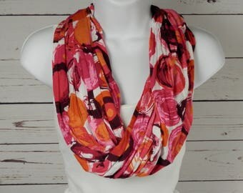 Pink Delight Single Loop Infinity Scarf in Pink Magenta Coral Red Orange Brushstroke Cirlces Handmade by Thimbledoodle