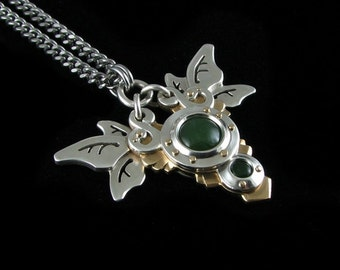 Handmade Argentium Silver and Brass  Jade Pendant