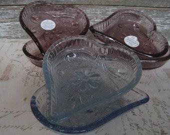 6 Tiara Sandwich Glass Hearts, Amethyst Heart, Light Blue Heart, 6 heart Shaped bowls, Plates