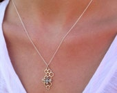 CYBER MONDAY SALE Silver Honeycomb Necklace with Bee Charm - Honeycomb charm - Silver Honeycomb Pendant