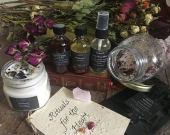 Wildheart Altar Kit ~ Anointing Oil, Smudge Spray, Spell Candle, Elixir, Roses, Crystal, Herb Salt, Ritual ~ Rose Lavender Love Spell Heart