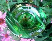 Dragonflies HUMMINGBIRD FEEDER, stained glass, copper, Bird Feeder, Green, Garden Decor