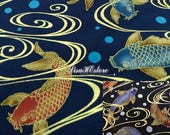 Koi fish and bubble, gold metallic, 1/2 yard, pure cotton fabric