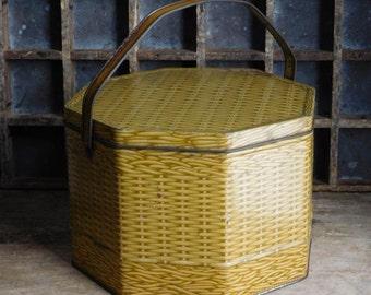 Vintage Yellow Basket Tin with Handle, Metal Biscuit Tin Box