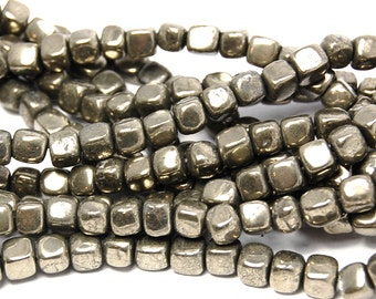 Pyrite cubed beads Smooth 6mm -15.5 inch strand