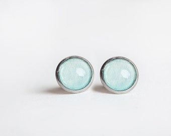 Aqua Stud Earrings, Blue, Stud Earrings, Aqua Studs, Aqua Earrings, Sea foam, Blue Studs, blue earrings, Bees and Buttercups