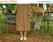 SALE Brown Linen Skirt Summer Skirt VINTAGE 80s womens skirt