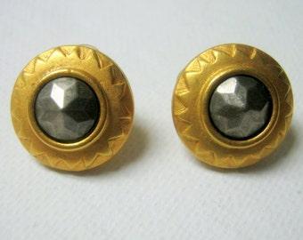 Vintage Gold Grey Stud Liz Claiborne Earrings