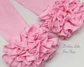 Powder Pink Ruffle Leggings - Light Pink Ruffle Leggings - adorable knit ruffle leggings - Just Born/Doll size to 8 with FREE SHIPPING