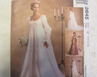 McCall's 2645 Renaissance Wedding Gown Pattern Sz 14 16 18 Gothic Dress FF